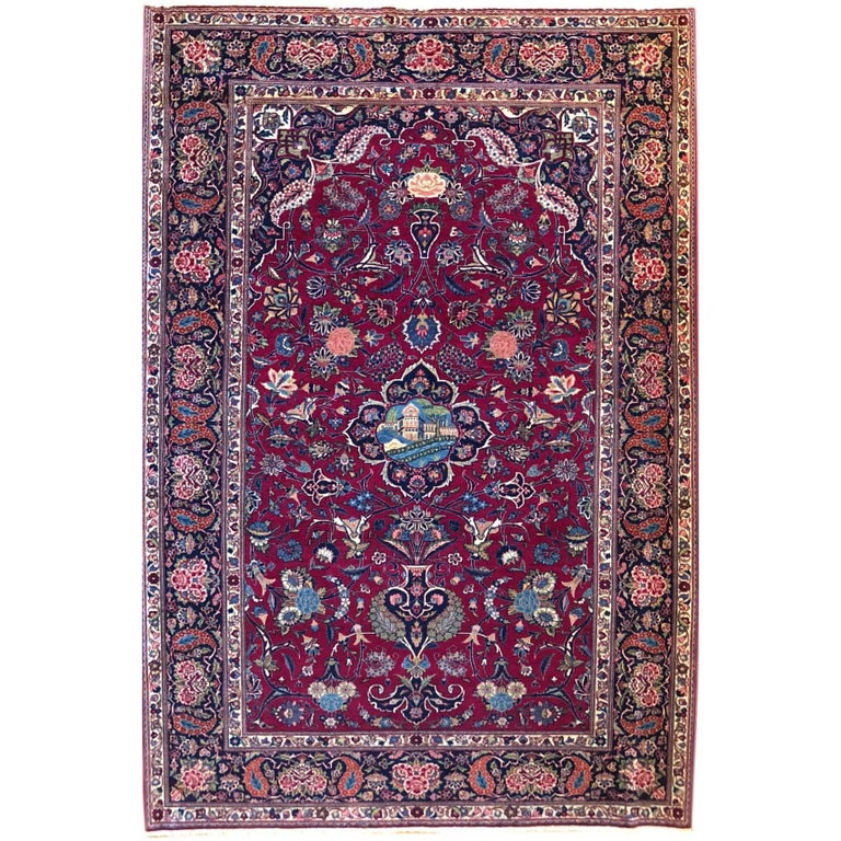 Persian Semi Antique Vintage Red Medallion Kashan Rug For Sale