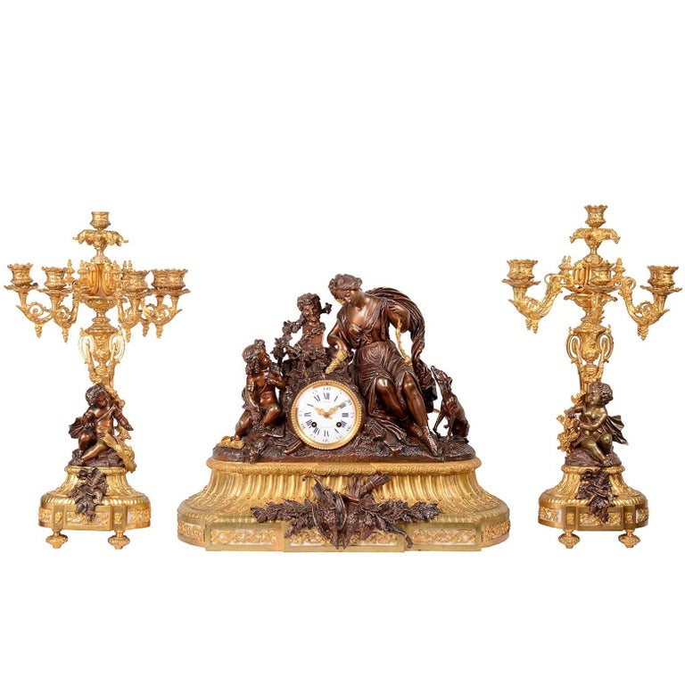 Large Louis XVI Style Clock Set, 19th Century For Sale