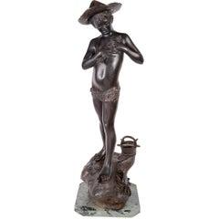 19th Century Bronze Fisher Boy