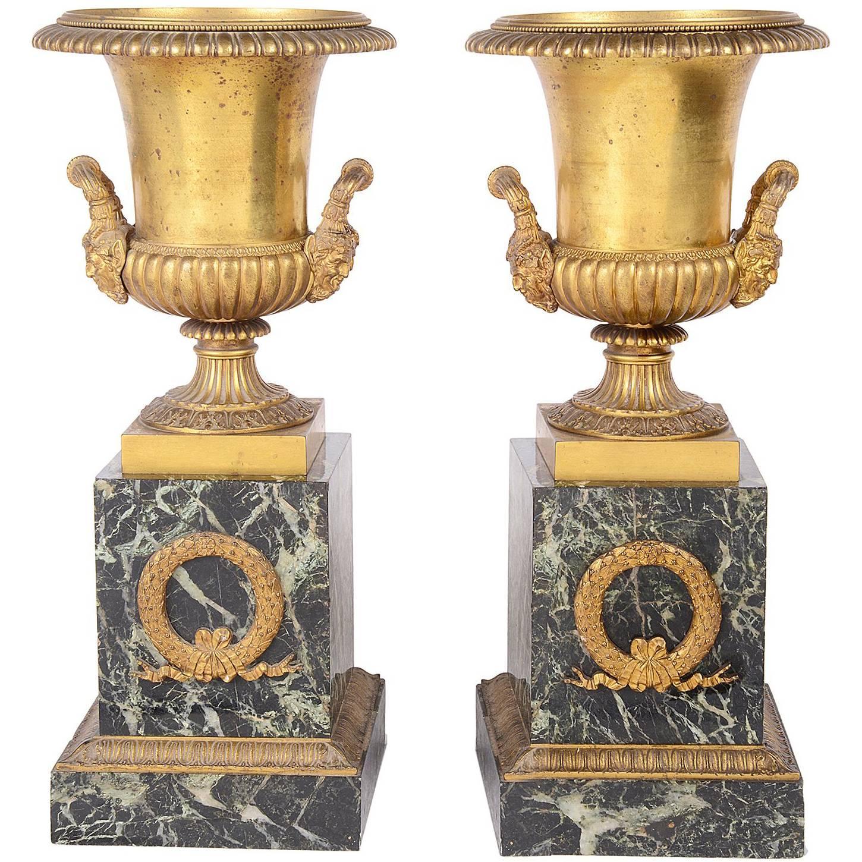 Pair of Large Classical 19th Century Ormolu Urns