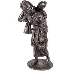 Japanese 19th Century Bronze of Mother and Child, Meiji Period