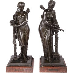 Psyche and Pandora Classical Bronze Statues, 19th Century, Signed H. Dumaige