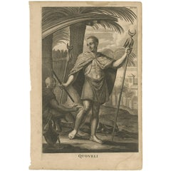 Antique Portrait of Quoveli by O. Dapper, 1688