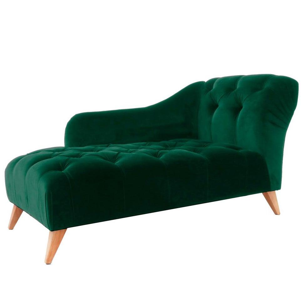 Art Deco Style Emerald Velvet Chaise Longue Abbey