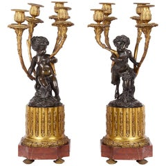 Pair of Louis XVI Style Cherub Candelabra, 19th Century