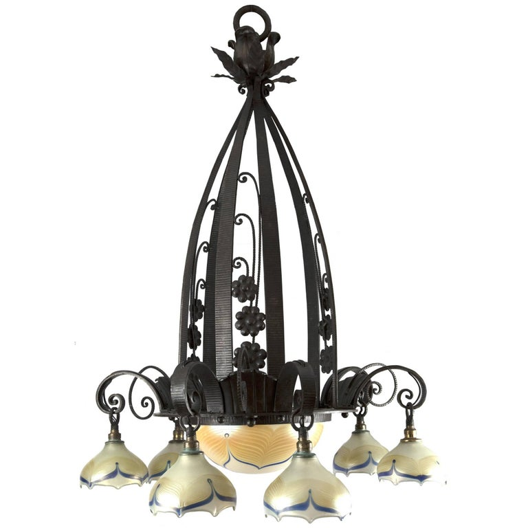 Edgar Brandt Art Deco Wrought Iron and Feathered Glass Chandelier