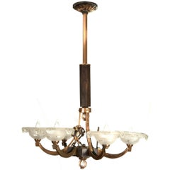 Brass and Wood French Art Deco Six-Arm Chandelier with Figural Forms