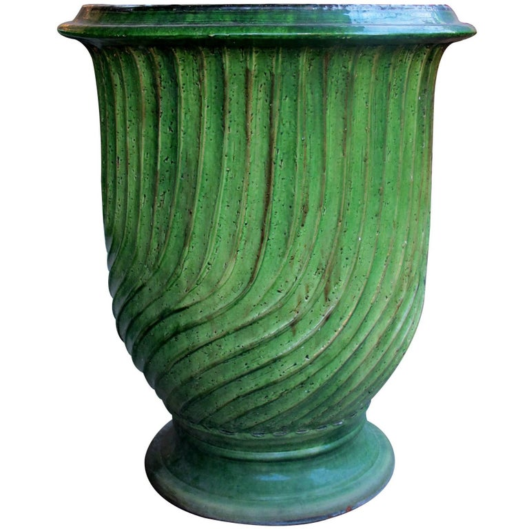 Large Scaled French Green-Glazed Striated Garden Pot or Urn