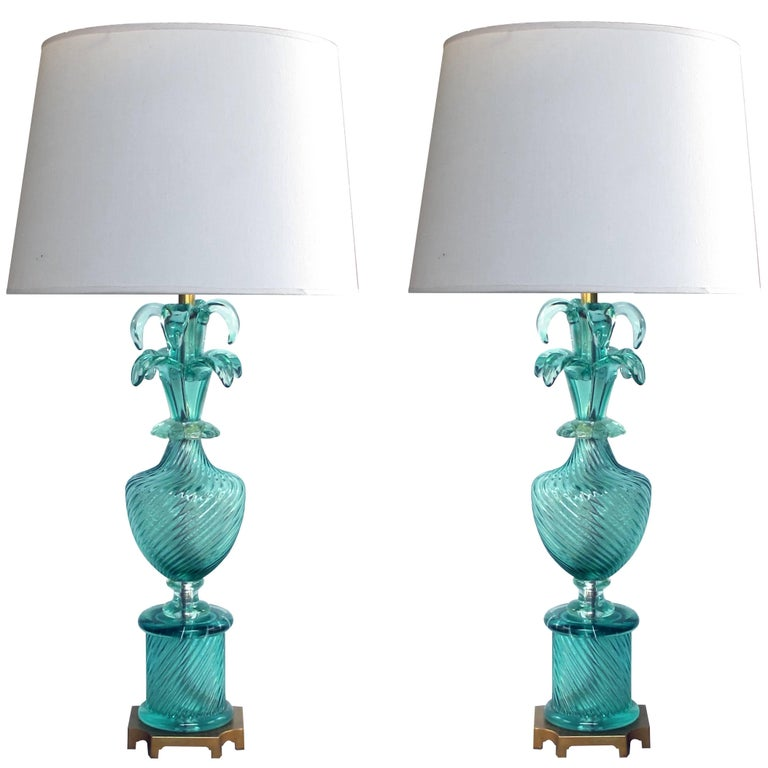 Stunning Pair of Murano 1960s Baluster-Form Aqua Glass Lamps by Marbro Lamp Co