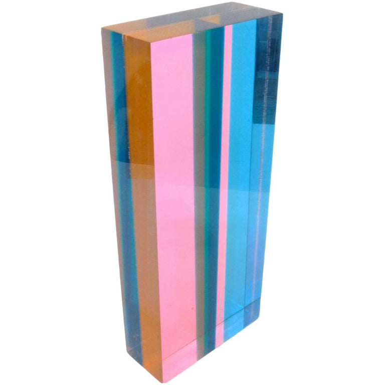 Mulit-Color Acrylic Sculpture by Vasa Mihich For Sale