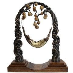 "Art Deco Bronze Sculpture ""The Spider Web"" by Erte Romain de Tirtoff"