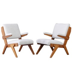 Pair of Shearling Wood Chairs
