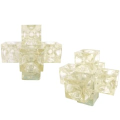 Pair of Cast Glass Cube Table Lamps