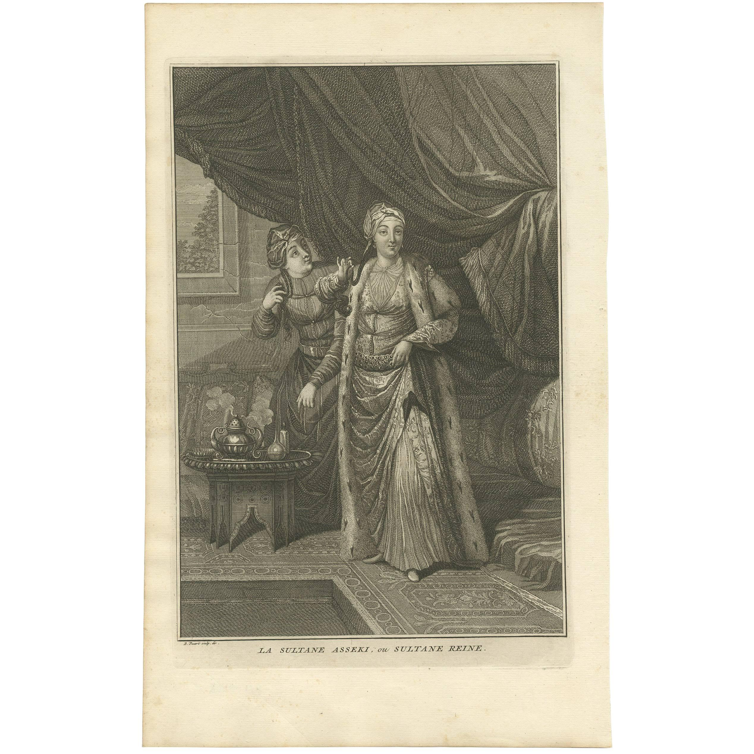 Antique Print of the Sultan Asseki with a Servant Maid by B. Picart, circa 1725