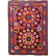 Handmade Vintage Uzbek Suzani Embroidery, 1960s
