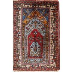Handmade Vintage Prayer Turkish Konya Rug, 1950s, 1C528
