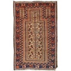 Handmade Antique Afghan Baluch Prayer Rug, 1900s
