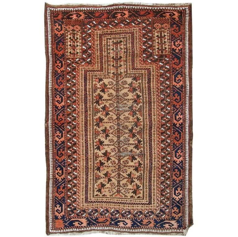 Handmade Antique Afghan Baluch Prayer Rug 1900s For