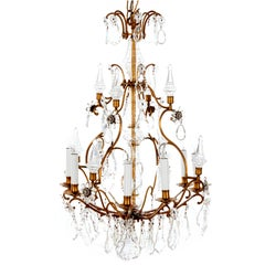 8-Arm Late 19th Century Birdcage Chandelier C/W Crystal Glass Plaques & Obelisks