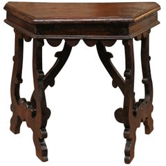 Petite Italian Baroque Walnut Console with Lyre Legs, Early 18th Century