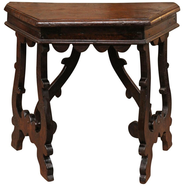 spanish baroque style bleached wood coffee table with lyre