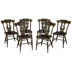 Set of Six Painted and Decorated Side Chairs