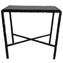 Hammered Steel End Table, Bronze Patina