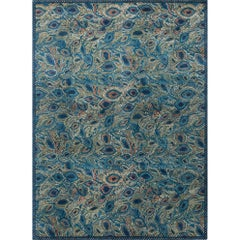'Peacock' Hand-Knotted Tibetan Rug Made in Nepal by New Moon Rugs