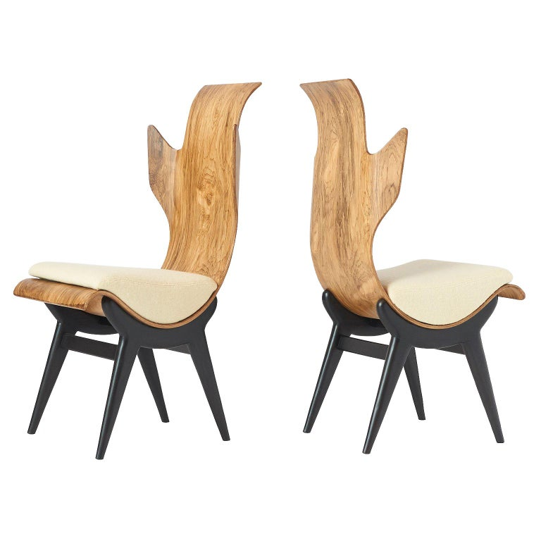 """Pair of """"Flame"""" Chairs by Dante LaTorre For Sale"""