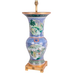 Chinese Famille Verte Vase or Lamp, 19th Century
