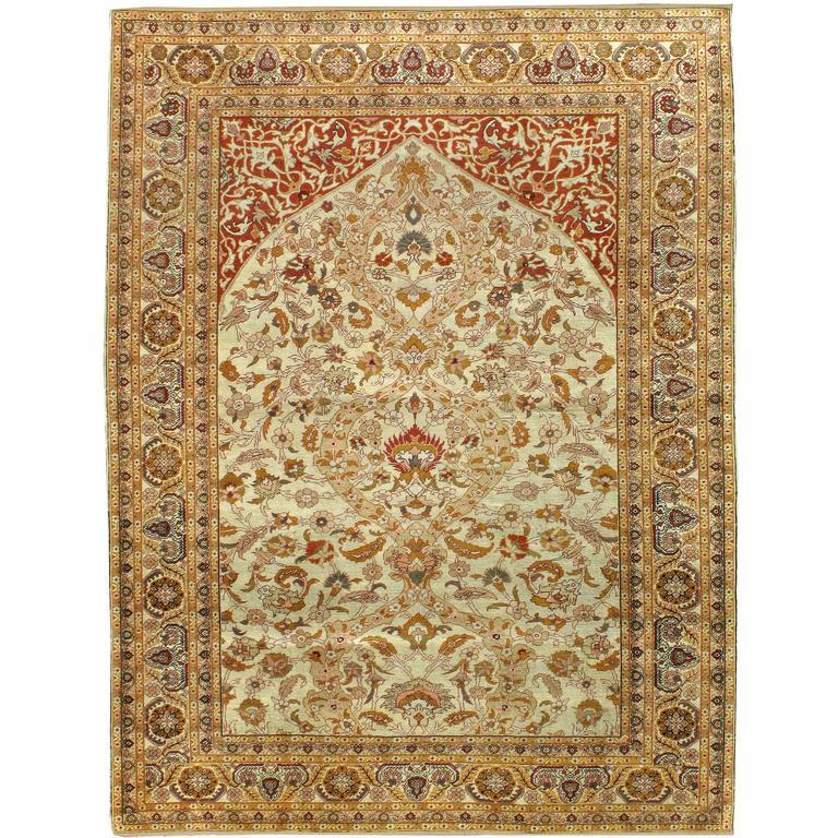 Antique Turkish Silk Kayseri Rug