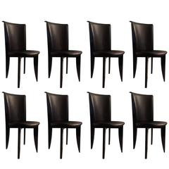 Set of Eight Italian Leather Chairs, Italy, 1970s