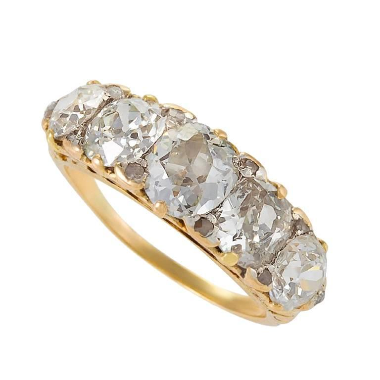 Antique Diamond 5 Stone Ring For Sale at 1stdibs