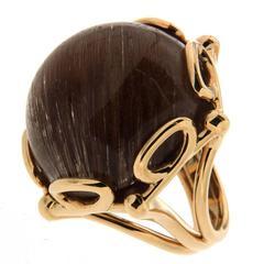 Geometrical Rutilated Quartz Looped Wire Design Gold Ring