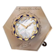 Art Deco Gold Mother-of-Pearl Agate Clock Engraved for Maurice Chevalier