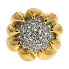 Claw Pave Diamond Gold Dome Ring