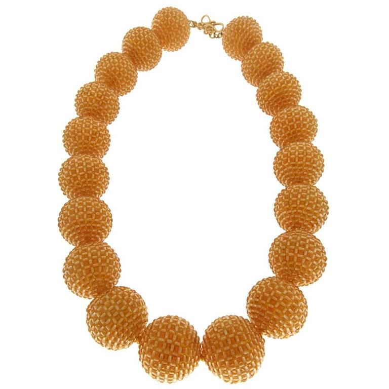 Citrine Woven Bead Necklace