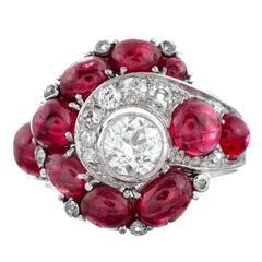 Inspired Design Cabochon Diamond Platinum Ring