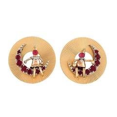 Retro Ruby and Gold 'Man and Woman in the Moon' Earrings