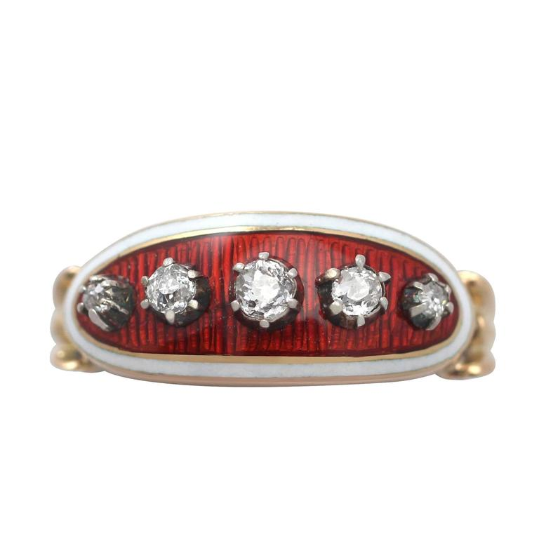 1890s Antique Diamond and Enamel Yellow Gold Cocktail Ring