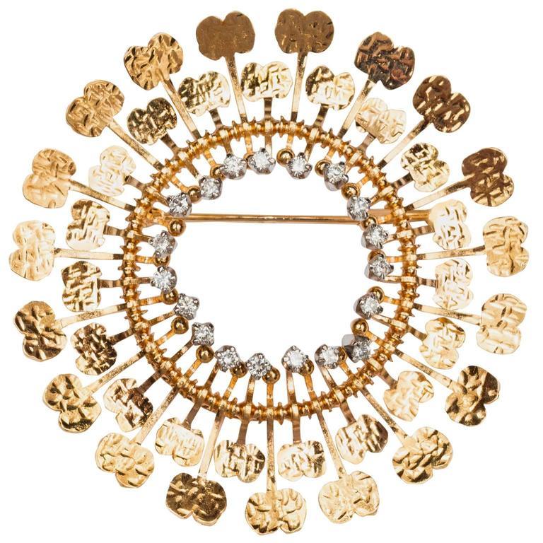 "1960s Tapio Wirkkala Handmade Diamond Gold ""Sunflower"" Brooch For Sale"