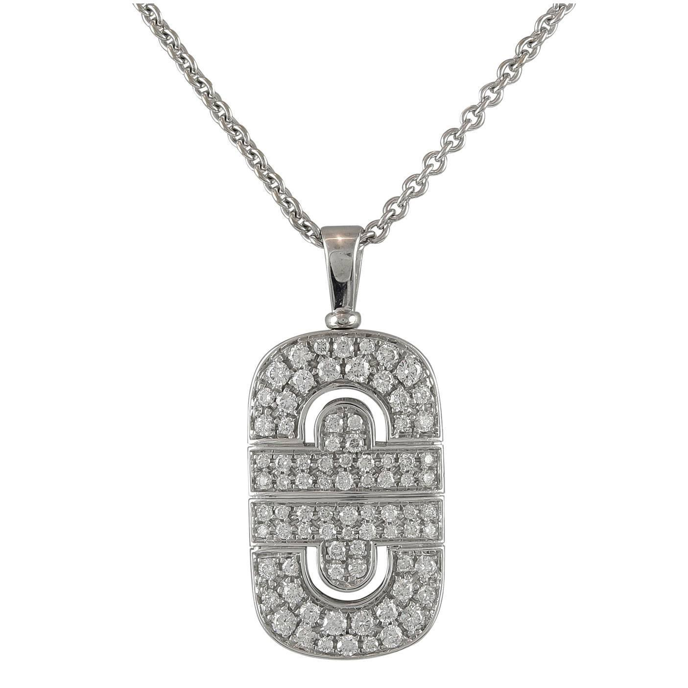 bulgari parentesi pave gold pendant with chain at