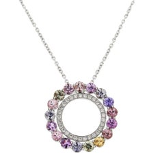 Jona Multi-Color Sapphire White Diamond 18 Karat Gold Pendant