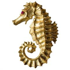 1970s David Webb Ruby Gold Seahorse Pin Brooch