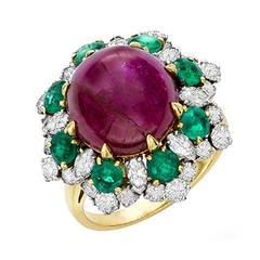 1965 Bulgari Ruby Emerald Diamond Gold Dolce Vita Ring