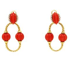 1960s Cartier Coral Diamond Gold Day-to-Night Earrings