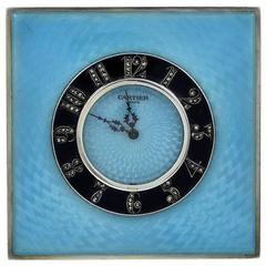 Cartier Paris Sterling silver Two Color Enamel Clock