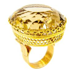 Regal Victorian Era Smoky Citrine Topaz Gold Cocktail Ring