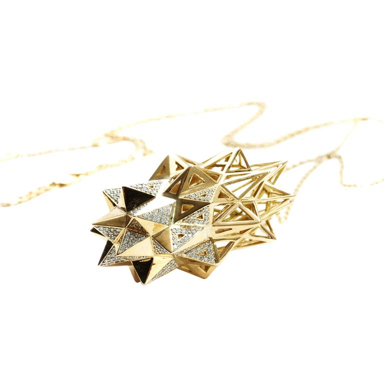 Stellated Diamond Gold Pendant