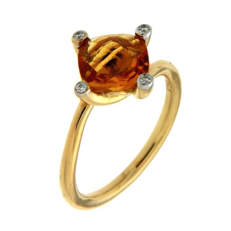 Cushion Citrine Diamond Gold Solitaire Ring